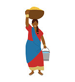 Vector Illustration Of Indian Woman Farmer Carrying Bowl With Wheat Grains On Head And Bucket of Water. Tradirional Agriculture, Manual Labor.