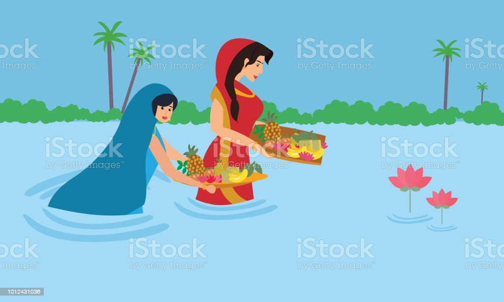 Indian Women Stand In Water As She Performs The Rituals Pray And