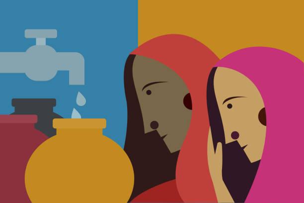 indian women wearing sari fetching water - tap water stock illustrations