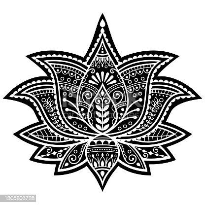 istock Indian Yoga lotus flower vector design, Mehndi henna tattoo art or pattern, zen detailed bohemian greeting card 1305603728