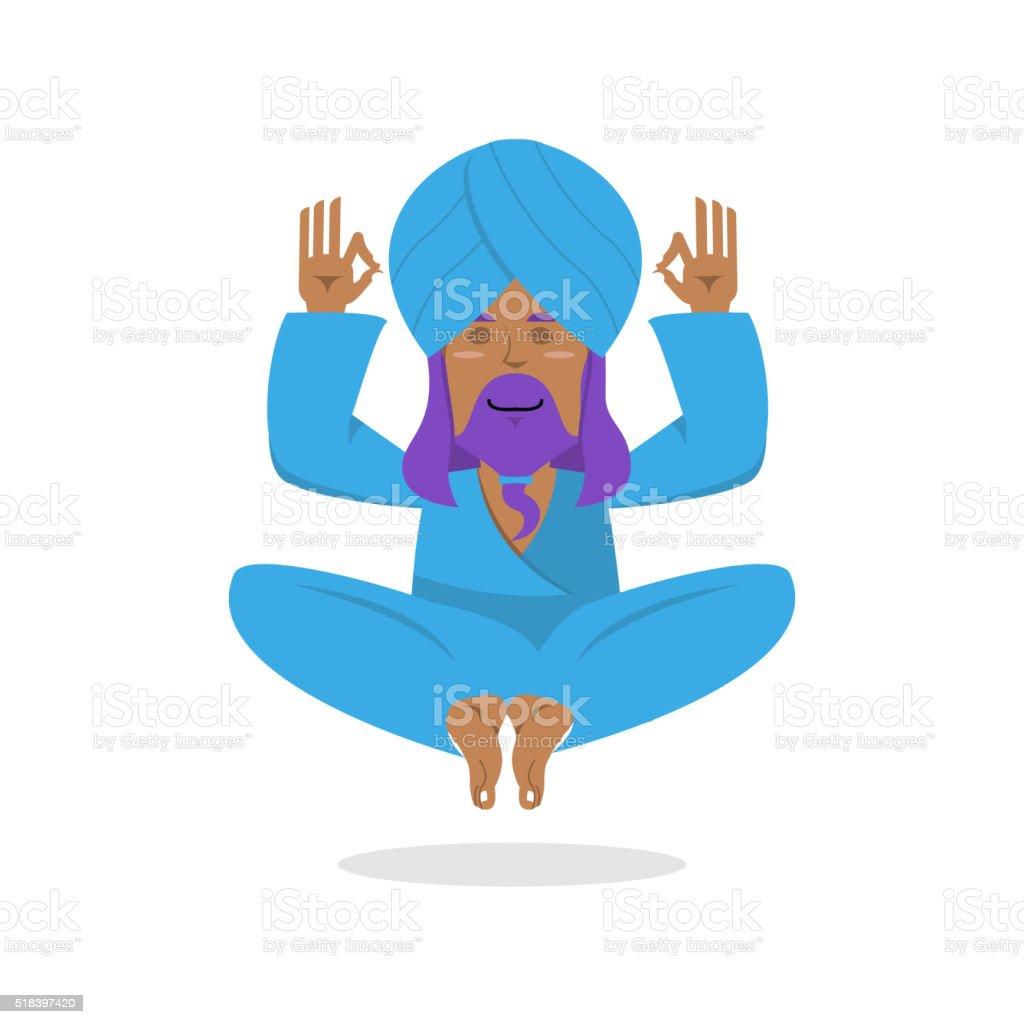 Indian yogi meditates. Yogi on white background. Indian yoga. Go vector art illustration