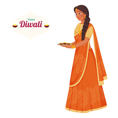 Indian Young Woman Holding Plate of Lit Oil Lamps (Diya) on White Background for Happy Diwali Celebration.