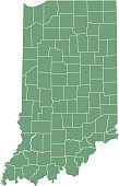 istock Indiana county map vector outline green background. Map of Indiana state of United States of America with counties borders 1090743106
