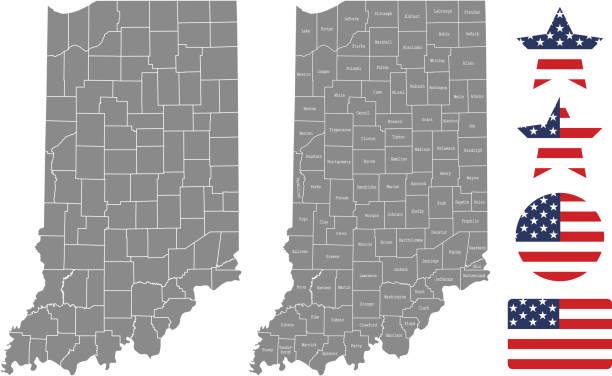 ilustraciones, imágenes clip art, dibujos animados e iconos de stock de esquema de vectores de mapa condado indiana en fondo gris. mapa de estado de estados unidos de indiana con nombres de condados etiquetados y diseños ilustración vector de bandera de estados unidos - zona urbana