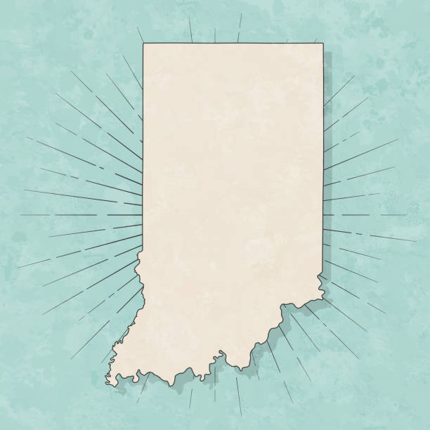 Indiana map in retro vintage style - Old textured paper vector art illustration