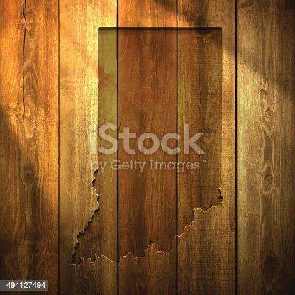 Map of Indiana on a realistic wooden wall with a natural light.