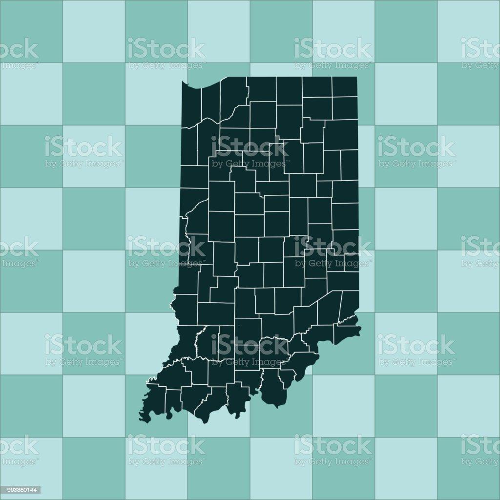 Indiana map - Grafika wektorowa royalty-free (Ameryka Północna)