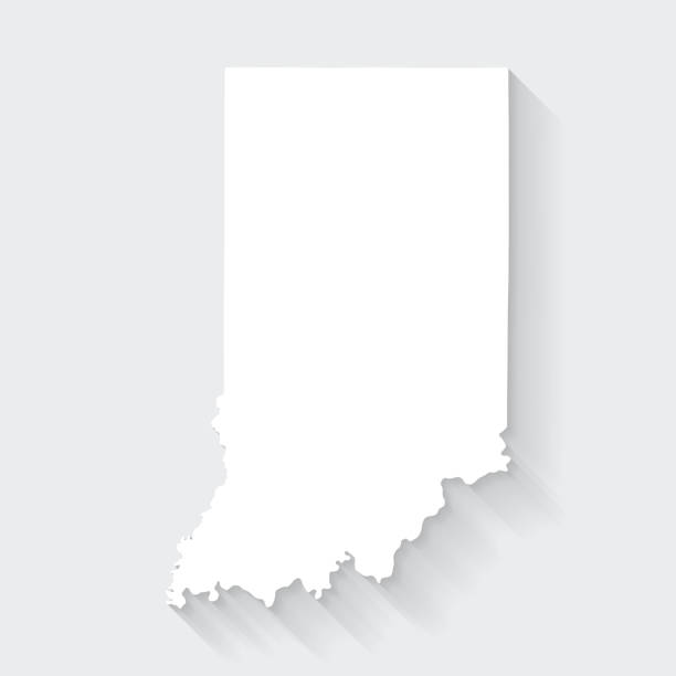 Indiana map with long shadow on blank background - Flat Design vector art illustration