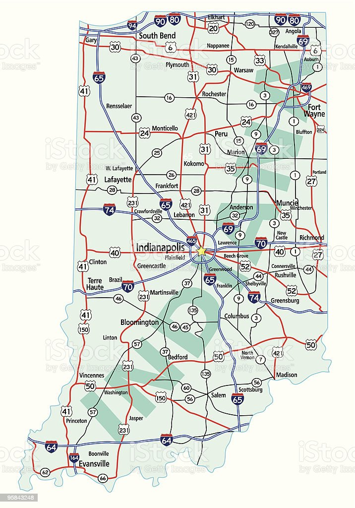 Indiana State Interstate Map royalty-free stock vector art