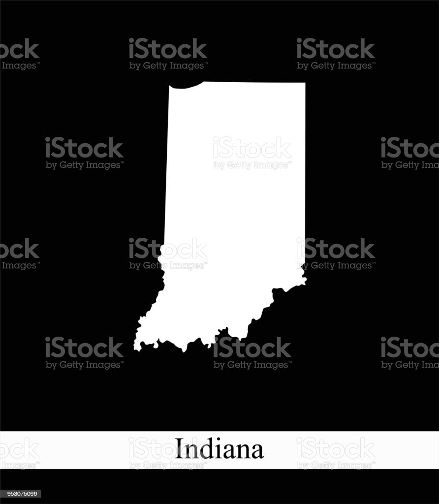 Indiana State Of Usa Map Vector Outline Illustration Black And White ...
