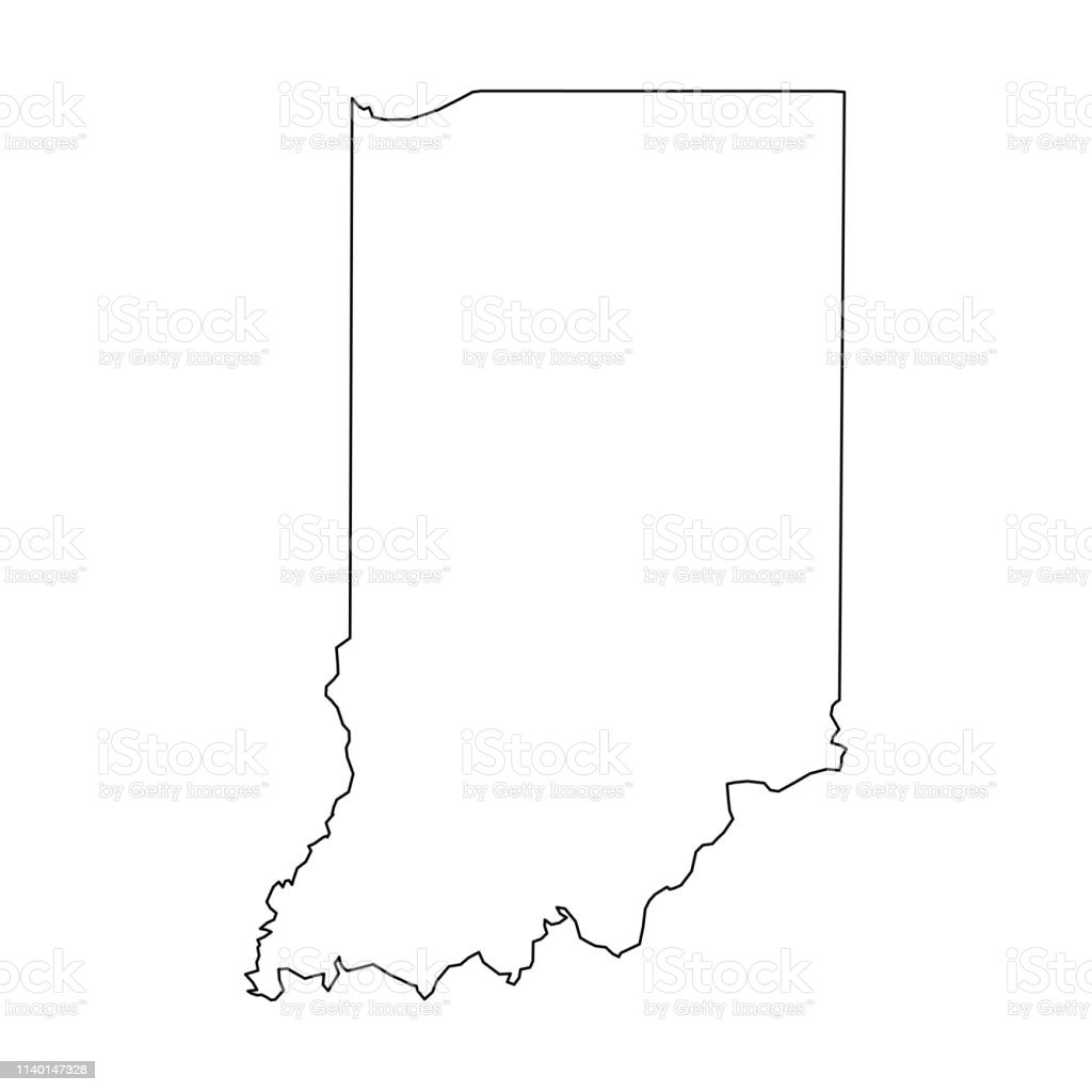 Indiana State Of Usa Solid Black Outline Map Of Country Area