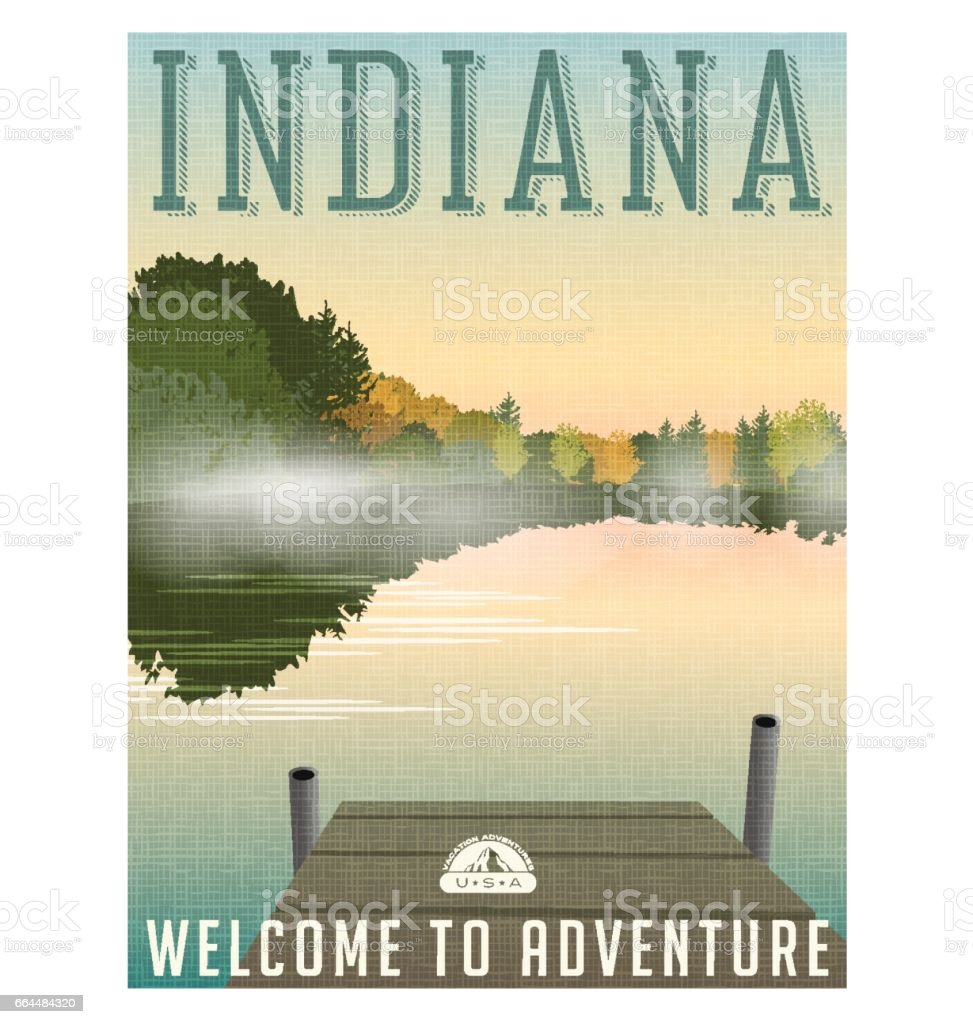 Indiana travel poster or sticker. Vector illustration of of mist on tranquil lake in autumn. vector art illustration