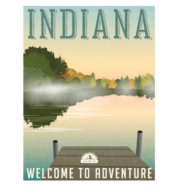 Cartel del viaje de Indiana o etiqueta. Vector ilustración de niebla en el tranquilo lago en otoño. - ilustración de arte vectorial