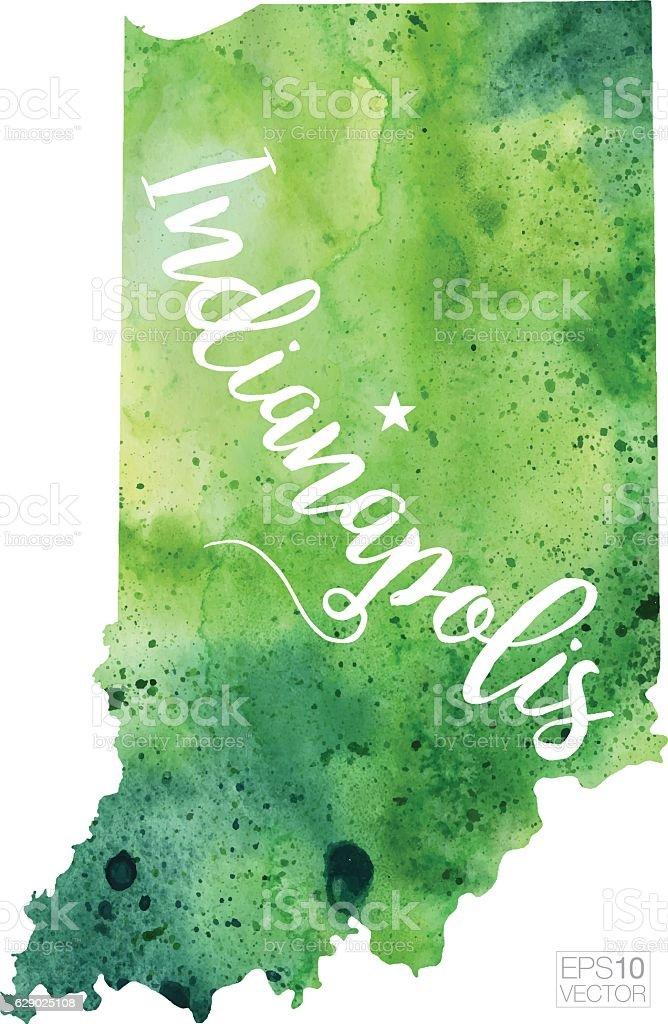 Indianapolis Indiana Usa Vector Watercolor Map Stock ...