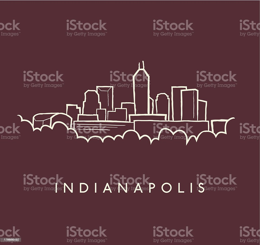 Indianapolis Skyline Sketch royalty-free indianapolis skyline sketch stock vector art & more images of building exterior