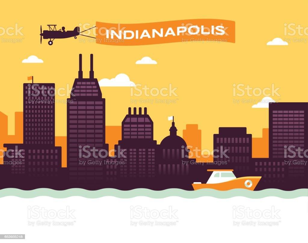 Indianapolis Skyline vector art illustration