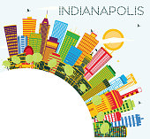 Indianapolis Skyline with Color Buildings, Blue Sky and Copy Space.