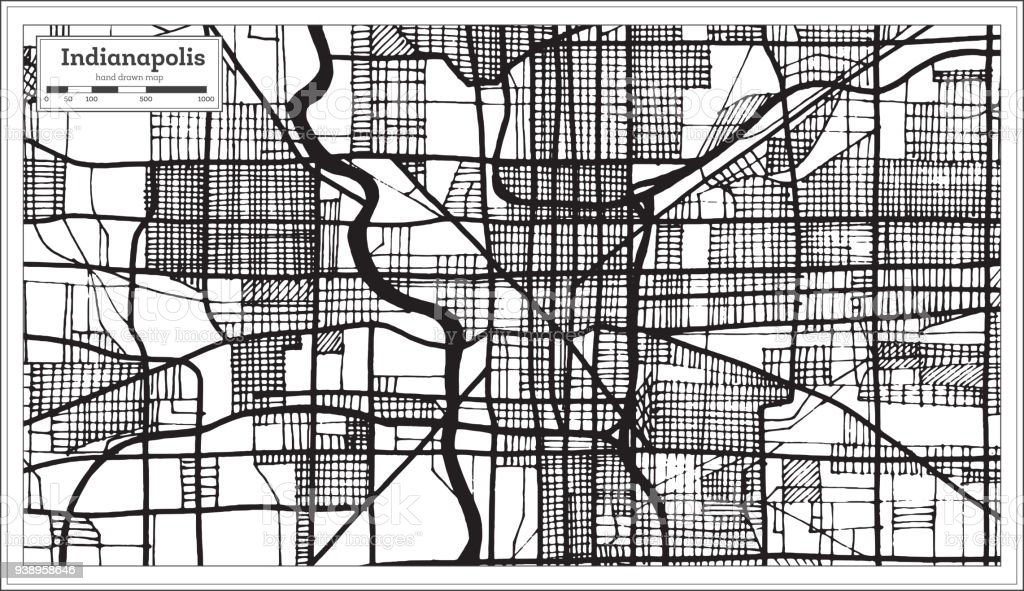 Indianapolis Usa City Map In Retro Style Black And White Color ...