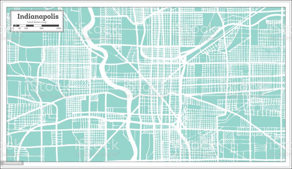 Indianapolis Usa Stadtplan Im Retrostil Der Umriß Stock ...