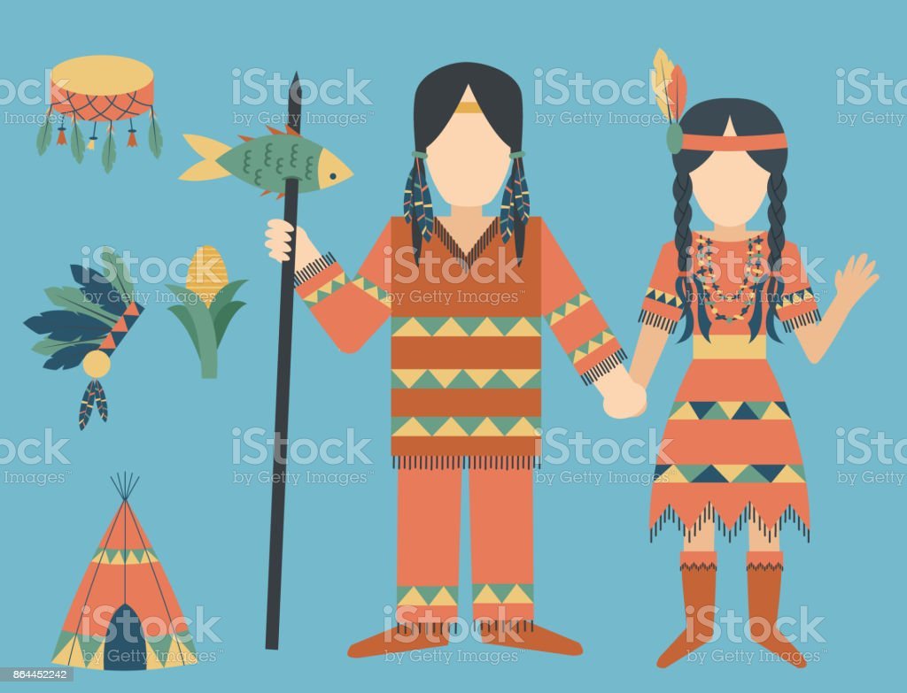 Indians icon temple ornament and element retro vintage hinduism ethnic people tools vector illustration vector art illustration