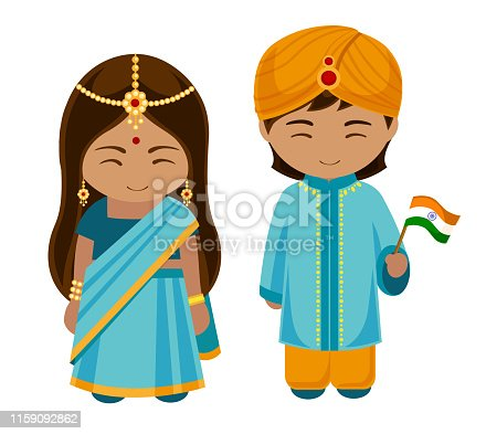 istock Indians in national dress with a flag. 1159092862