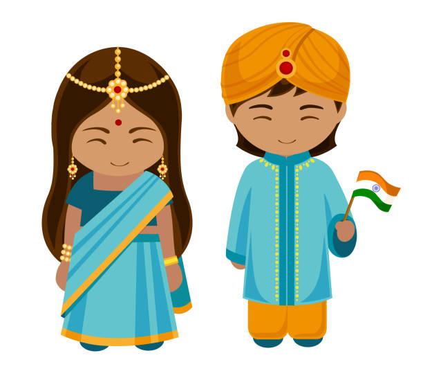indianer in nationalkleidung mit einer flagge. - paararmbänder stock-grafiken, -clipart, -cartoons und -symbole
