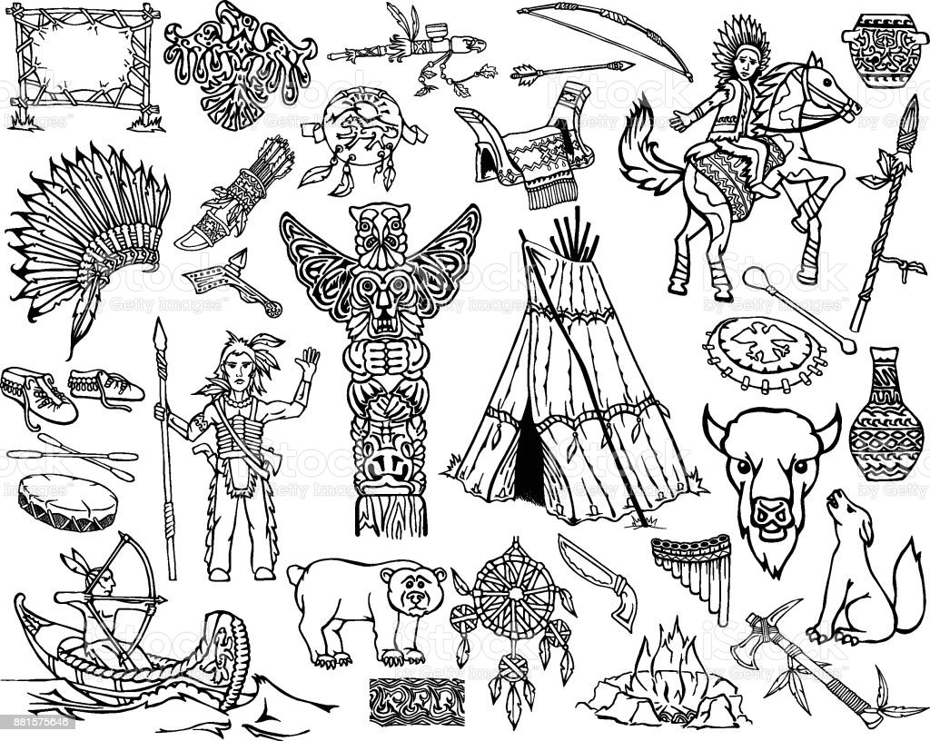 Indians Set vector art illustration