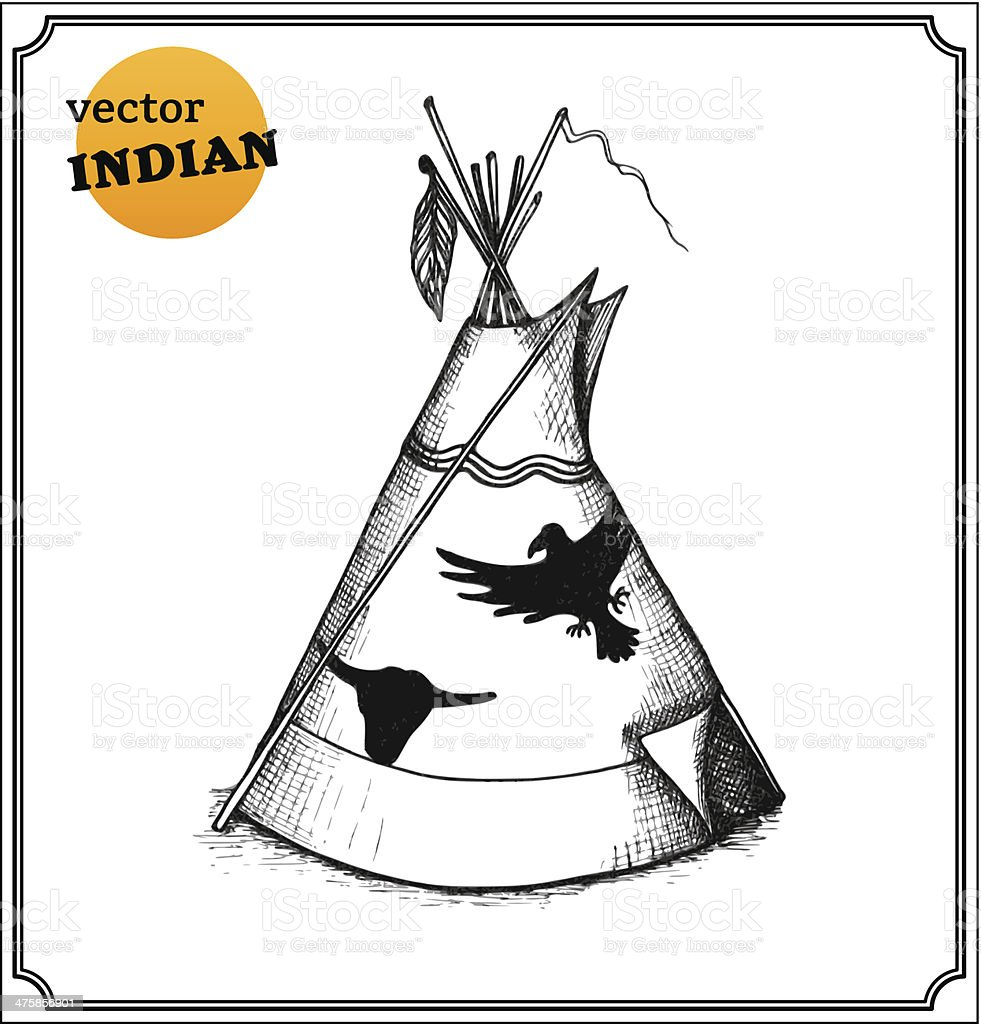 Indians teepee royalty-free stock vector art