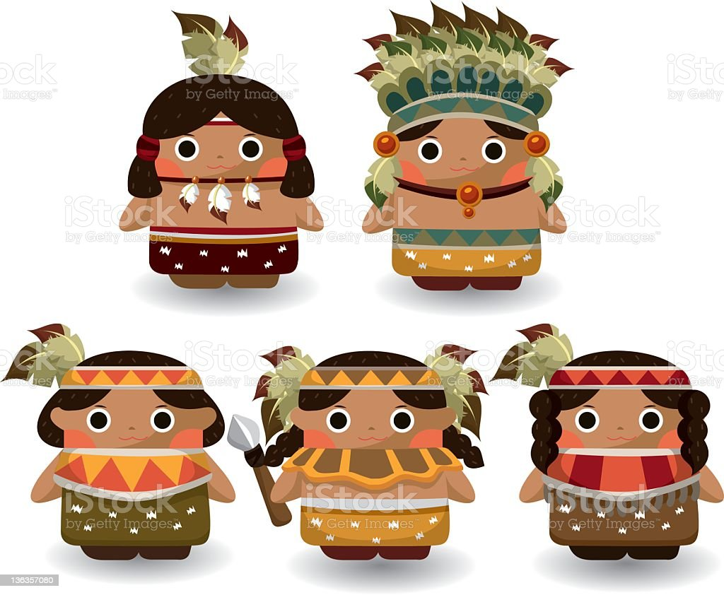 Indians vector art illustration