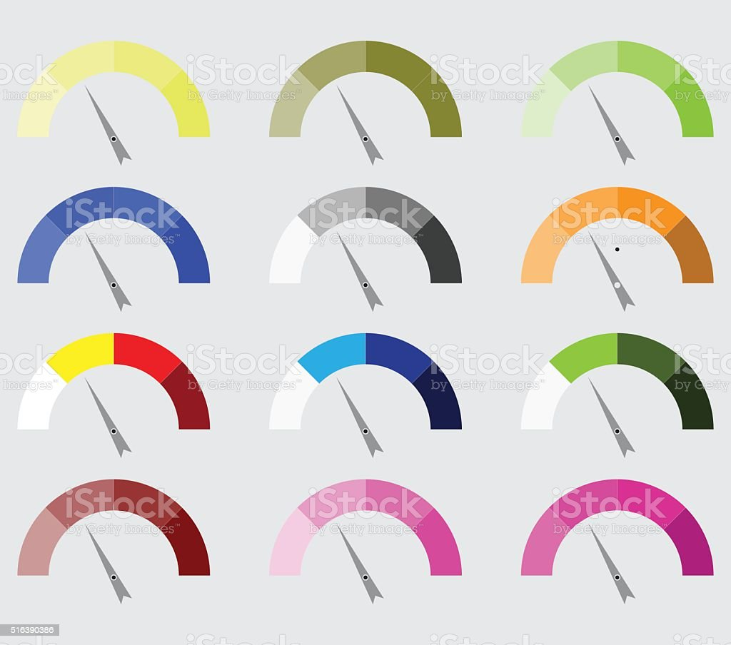 Indicator color set with pointer needle vector art illustration