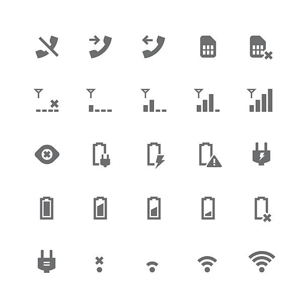 Indicator icons | retina series http://www.tomnulens.be/istock/newbanners/retinaseries.jpg cell phone charger stock illustrations