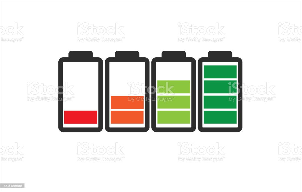 Indicator of battery level charger from empty to full charged in color vector art illustration
