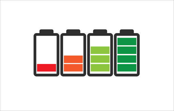 Indicator of battery level charger from empty to full charged in color Indicator of battery level charger from empty to full charged in color rechargeable battery stock illustrations