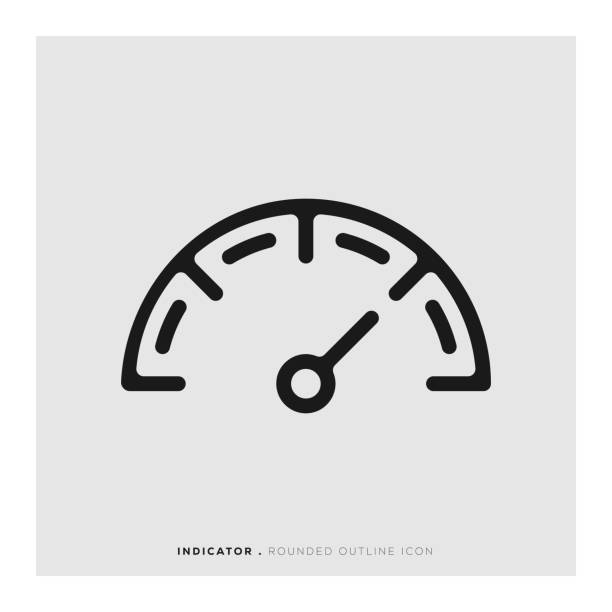 Indicator Rounded Line Icon Indicator Rounded Line Icon high up stock illustrations