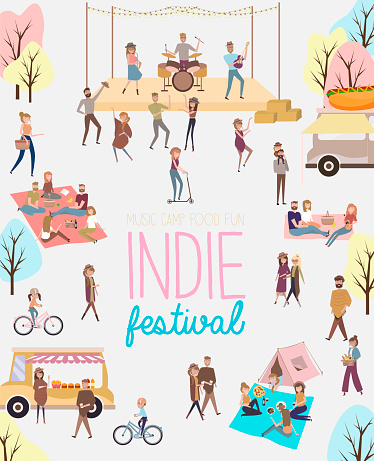 Indie festival poster with people walking, buying meals, talking to each other, fun and dance, watch the performance