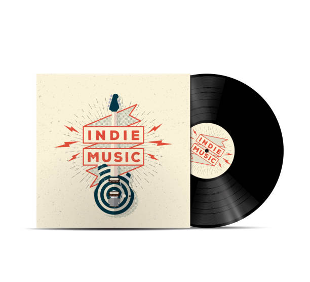 indie musik vinyl disc cover mockup. - schallplatte stock-grafiken, -clipart, -cartoons und -symbole