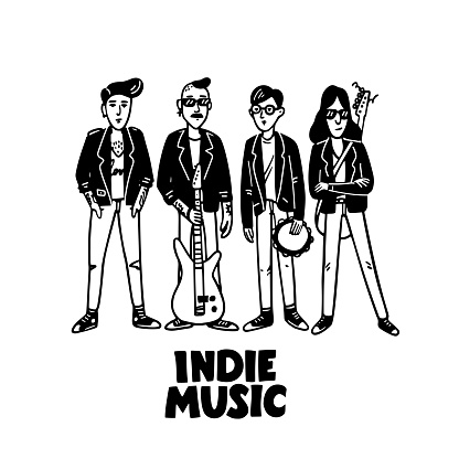 Indie rock music band. Black and white illustration of musicians wearing leather jackets. Template for card, poster, banner, print for t-shirt, pin badge patch. Vector illustration on white background.