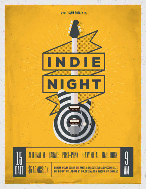 Indie Rock Music Night Party, Festival Flyer. Indie Rock Music Night Party, Festival Flyer, Poster, Banner Template For Your Event. Trendy Vintage Styled Vector Illustration. rock music stock illustrations