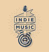 Indie Rock Music Vintage Styled Badge Design. Template for your poster, flyer, banner, badge, t-shirt design. Vector illustration.