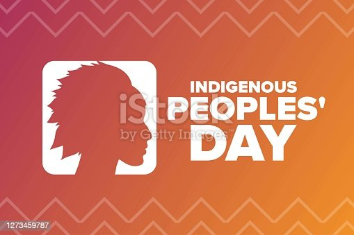 Indigenous Peoples Day. Holiday concept. Template for background, banner, card, poster with text inscription. Vector EPS10 illustration