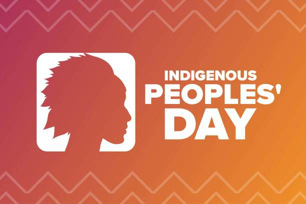indigenous peoples day. holiday concept. template for background, banner, card, poster with text inscription. vector eps10 illustration. - columbus day stock illustrations