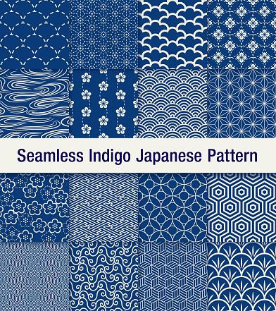 indigo japanese seamless pattern set