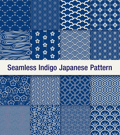 A set of 16 traditional Japanese seamless pattern set in blue. The shadow is at the top layer and can be removed easily.
