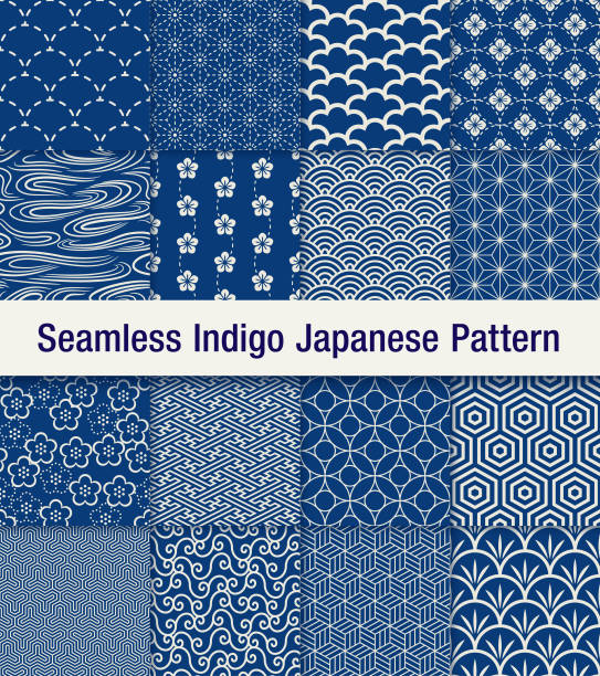 indigo japanese seamless pattern set A set of 16 traditional Japanese seamless pattern set in blue. The shadow is at the top layer and can be removed easily. japanese culture stock illustrations