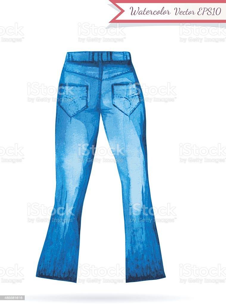Indigo Jeans Watercolor Sketch vector art illustration