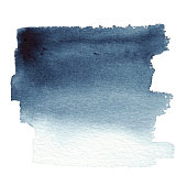 Vector hand drawn watercolor dark blue background brush stroke - invitations, posters, cards template - indigo wet paint backdrop.