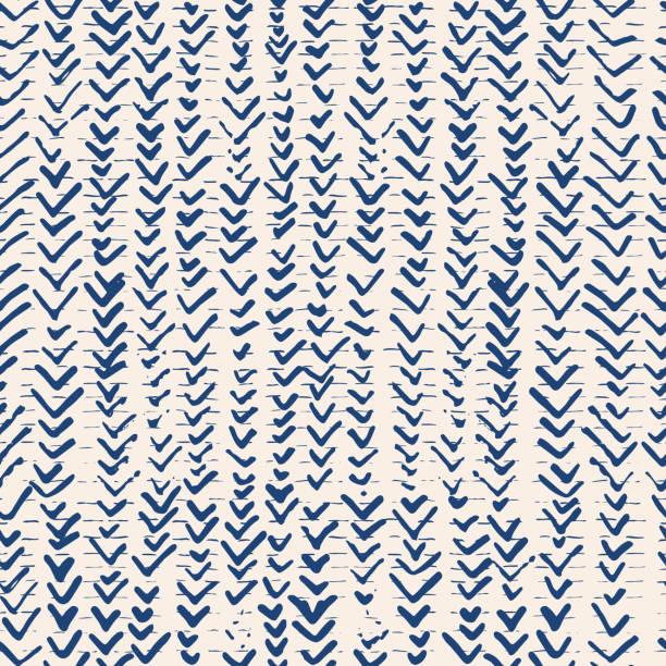 stockillustraties, clipart, cartoons en iconen met indigo vector tie dye naadloze patroon. - batik