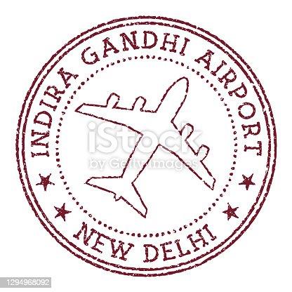 istock Indira Gandhi Airport New Delhi stamp. 1294968092