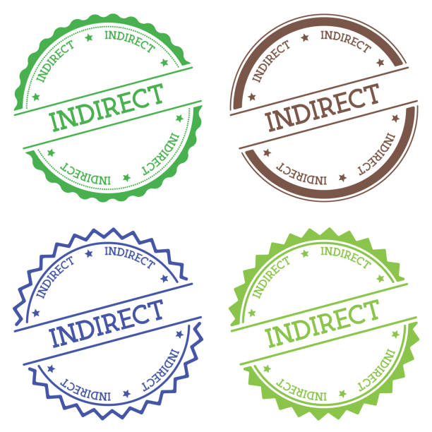 indirekte abzeichen isoliert auf weißem hintergrund. - indirect direct stock-grafiken, -clipart, -cartoons und -symbole