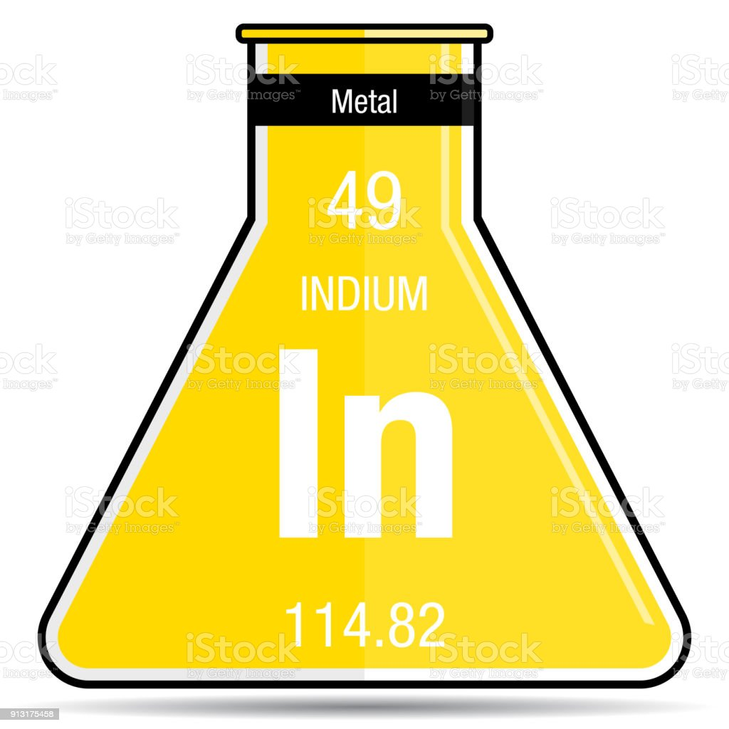 Indium Symbol On Chemical Flask Element Number 49 Of The Periodic